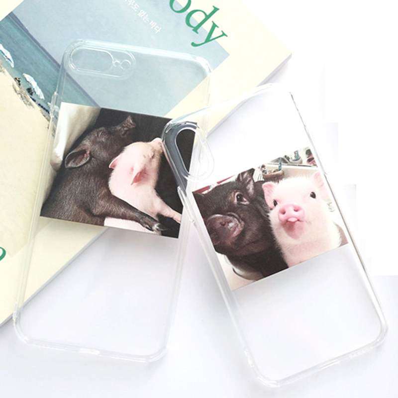 Lovely Piggy Phone Cases For iphone 7 Cute Cartoon Couples Clear Ultra Slim Cases For iphone 5 5S 6 6S 8 Plus X TPU Back Cover in Fitted Cases from Cellphones Telecommunications