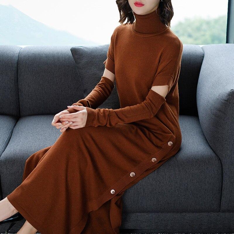 Women Autumn Winter Long Sweater Knitted Dresses Sexy Ladies Side Split Dress Slim Turtleneck Sweater Dresses