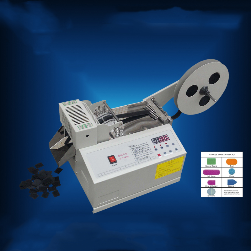 Automatic computer control weaving belt cutting machine Fillet/Chamfer magic tape ,zipper,magic tape cutting machine
