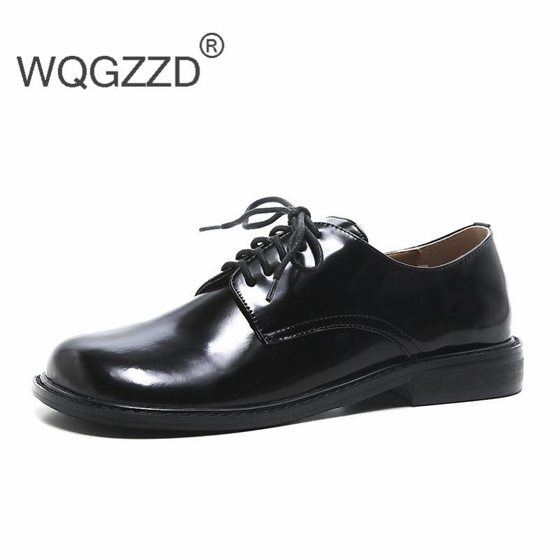 2018 Chaussures À De Femmes Femme Véritable Cuir Oxford Mujer Zapatos Pour Plates Lacets En Luxe AqAHWx1vnr