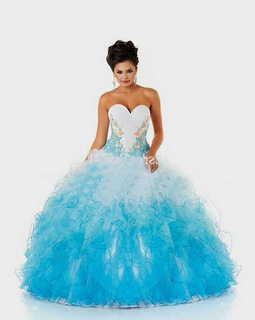 8162a960749 Hote sale Color Accented Sweetheart Floor length Ball Gown Applique Beaded  Light sky blue Organza and White satin wedding dress