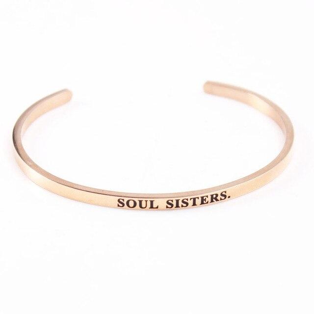 Personalized Engraved Soul Sisters Bracelet Rose Gold Color Bar Bangle Love Bracelets For Women Men Cuff