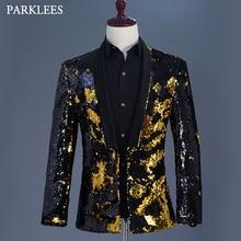 Gold Black Sequin Glitter Blazer Jacket Men Fashion Shawl Collar Mens Flipping Blazers Stage Prom Nightclub Singer Costumes Suit