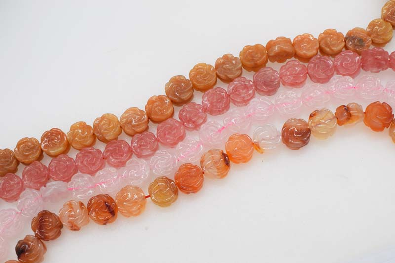 Friendly Loose Beads Carved Flower Red Agate/rose Quartz /orange Jade /14mm For Making Jewelry Necklace 15inch Fppj Wholesale Fine Jewelry