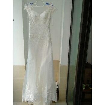 Fansmile Illusion Vestido De Noiva White Backless Lace Mermaid Wedding Dress 2019 Short Sleeve Wedding Gown Bride Dress FSM-453M 3