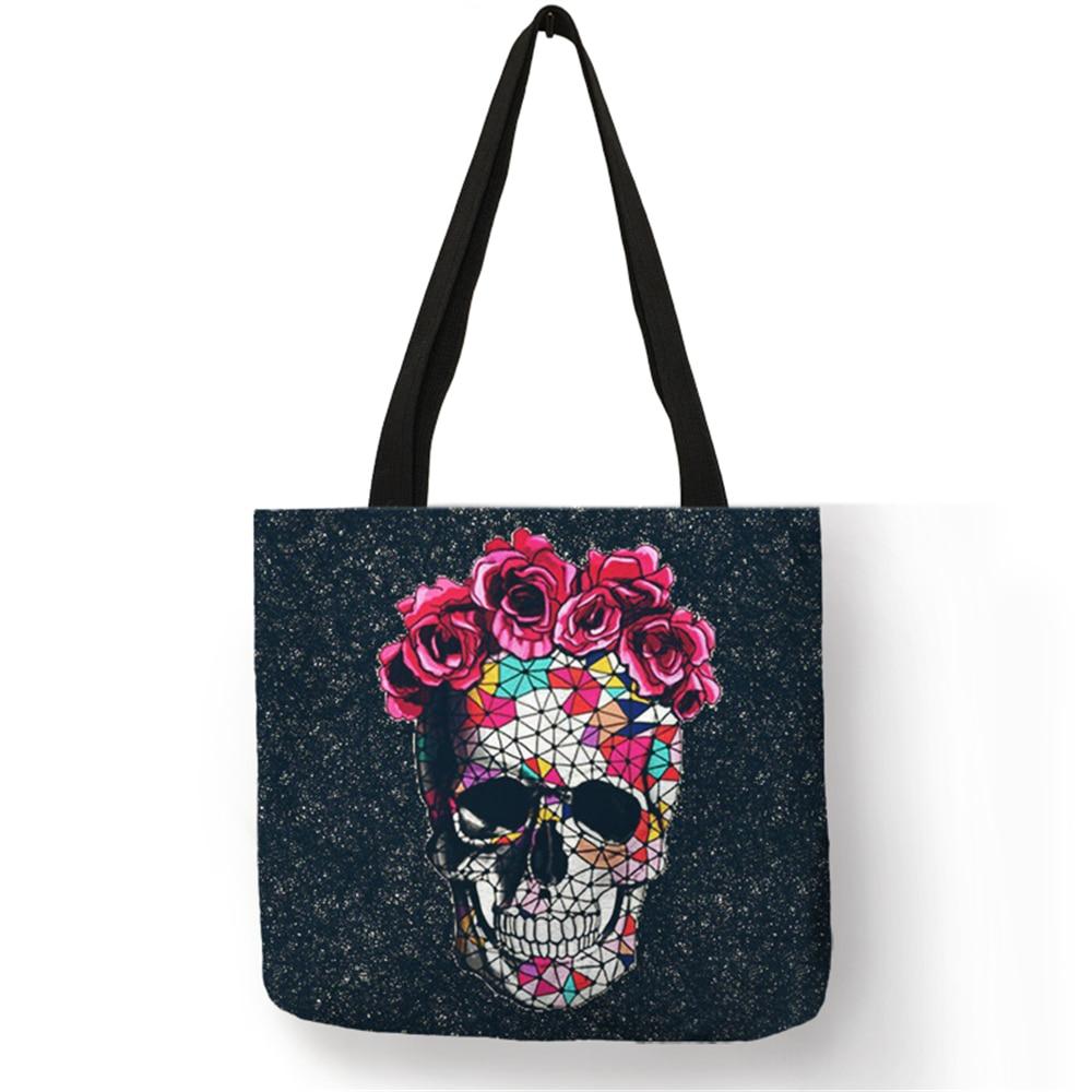 Floral Skull Print Linen Tote Bag Reusable Shopping Bags Folding Women Casual Handbags Lady Fabric Tote Bags