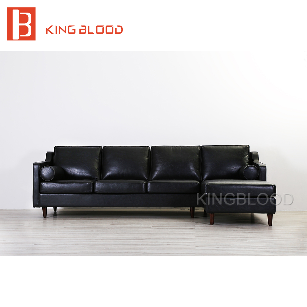 American vintage PU picture of furniture living room wooden sofa set design black top grain leather Italian leather sofa цена