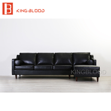 American vintage PU picture of furniture living room wooden sofa set design black top grain leather Italian leather sofa