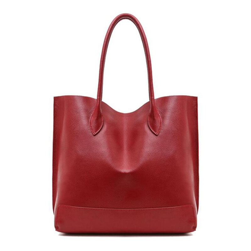 ФОТО New European Women Genuine Leather Bags Famous Brand Large Casual Tote Solid Soft Shouder Bag Fashion Handbags for Girls Female