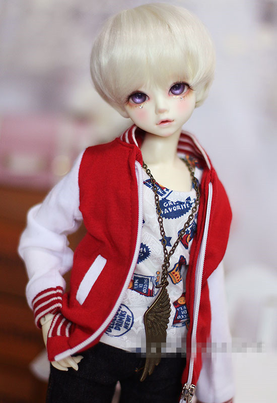 Cute Red-white Stitching Baseball Uniform Top Coat For BJD Doll SSDF,SD17,1/3,1/4, 1/6 MSD YOSD LUTS DOD AS Doll Clothes CMB75 fashion bjd doll retro black linen pants for bjd 1 4 1 3 sd17 uncle ssdf popo68 doll clothes cmb67