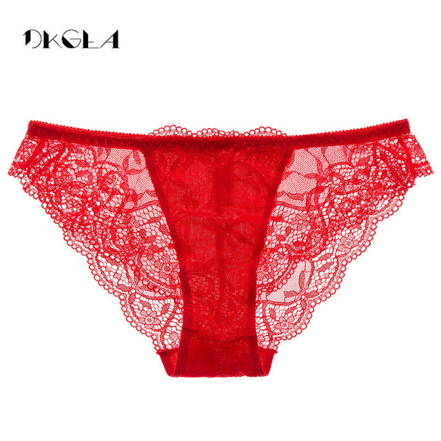 7e597773241 Fashion Low-rise Lace Panties Transparent Black Women Underwear Size M L XL  Comfortable Briefs Sexy Red Embroidery Floral Panty