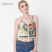 2017 Summer Women Crop Tops Sexy Print Crochet Camis Sexy Spaghetti Strap Hollow Out Tassel Beach Tops Camisole