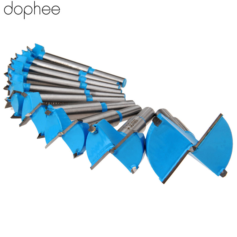 dophee 15-50mm Woodworking Tools Carbide Forstner Auger Drill Bits Set Hole Saw Drill Bits Cutter Wood Drilling Power Tool 10PCS 8pcs 230mm super long auger drill bits hex shank woodworking auger bits set good quality power tools