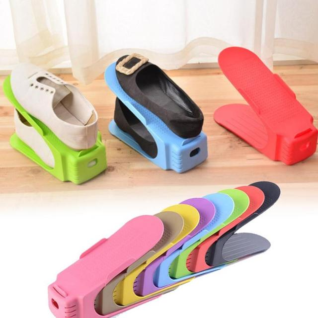 Thickening display rack shoes organizer space saving plastic storage rack double cleaning - Shoe storage small space pict ...