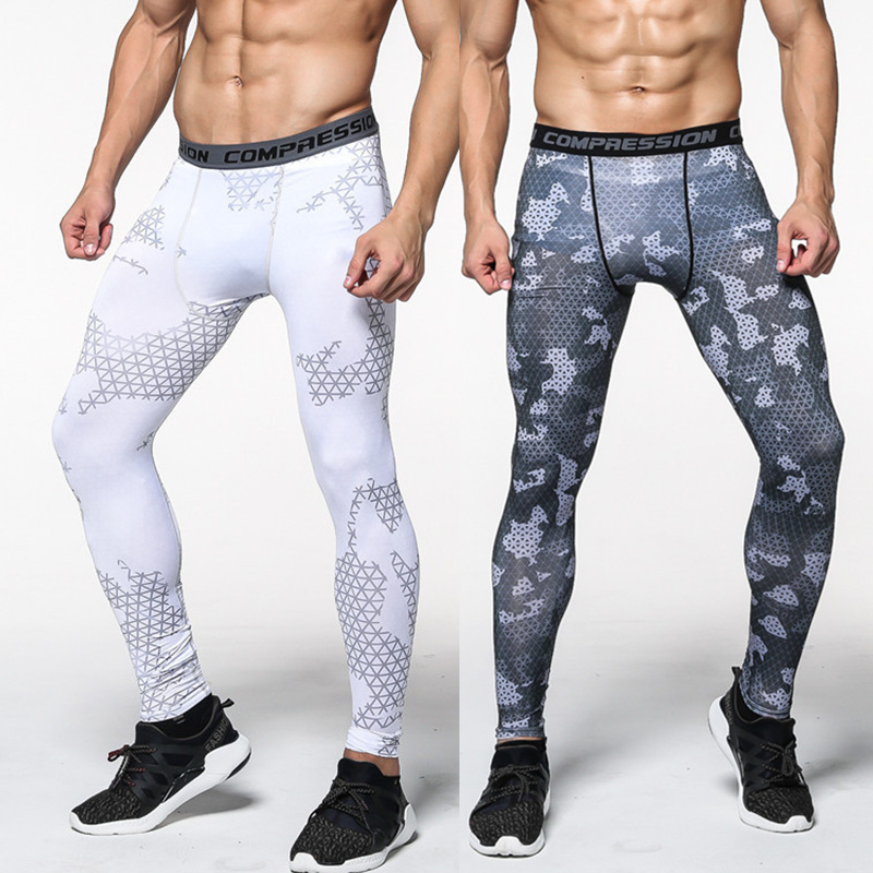 Men Polyester Skinny Leggings Compression Quick Dry Elasticity Tights MMA Pants Male Jogger Gyms Fitness Man Crossfit Sportswear