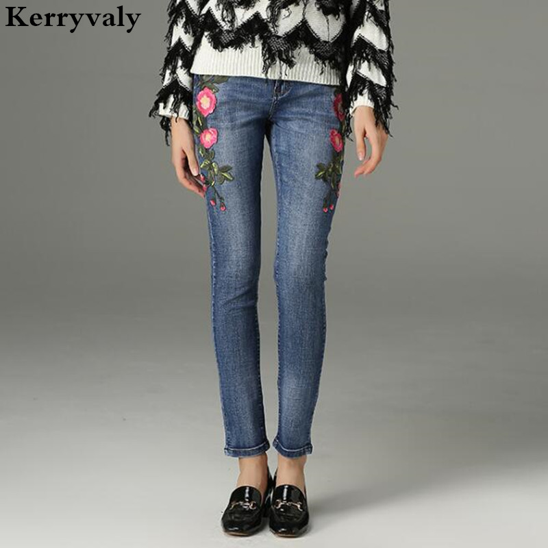 Ripped Jeans for Women Flowers Embroidery Cotton Stretch Denim Pants Vaqueros Mujer Fashion 2017 Jean Taille Haute K649 womens ripped jeans with embroidery summer 2017 ladies straight cotton denim casual pants pantalones vaqueros mujer garemay 2610