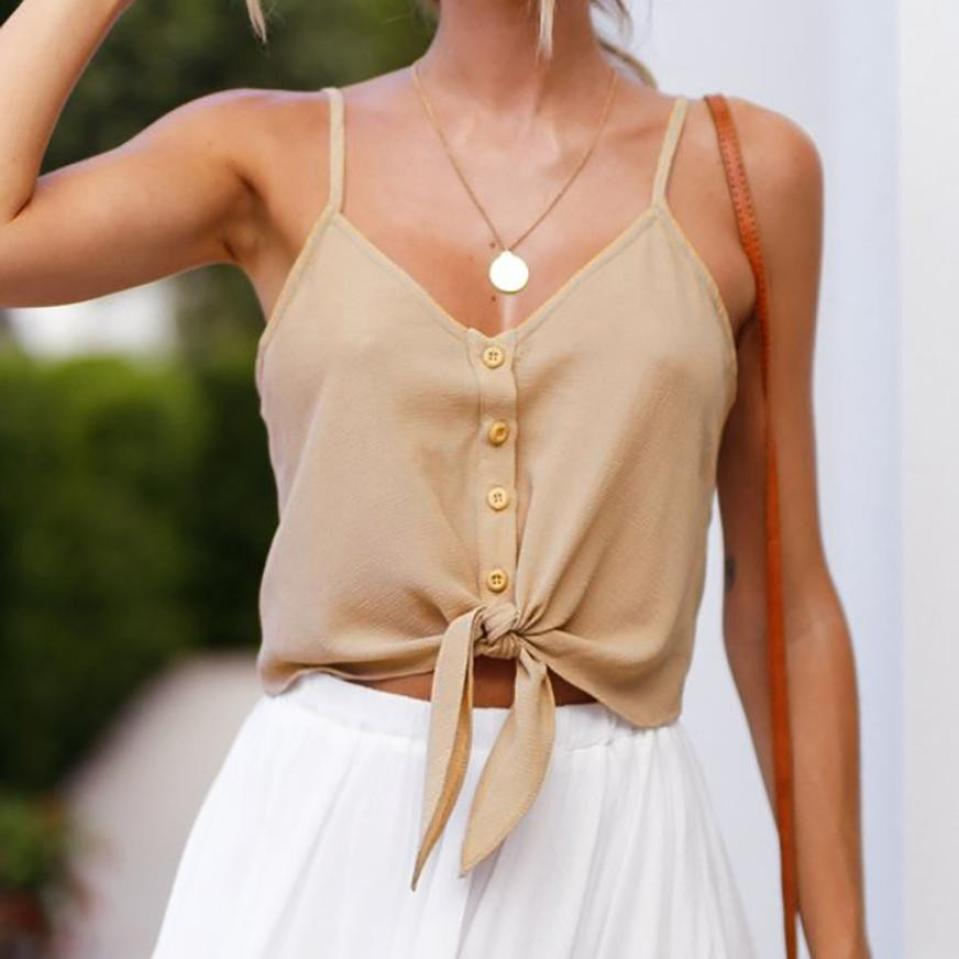 2019 New Style Vest Bowknot Tie V-neck Sleeveless Summer Cute Solid Fashion Women Blouse Sexy Tops Cool In Summer And Warm In Winter Women's Clothing