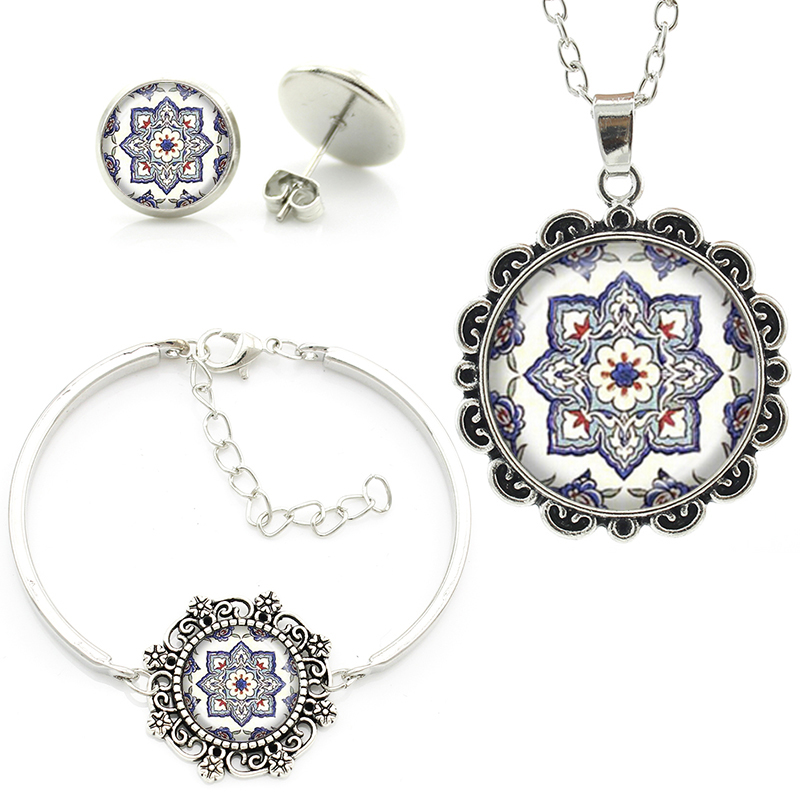 Latest Buddhism Mandala pendant necklace ancient Mediterranean tile pattern glass cabochon bracelet earrings jewelry set HT158