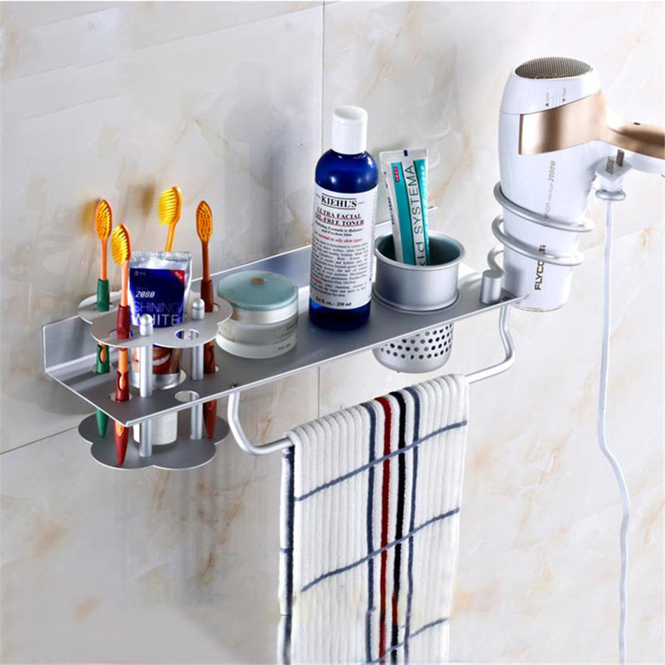 Matt chrome Bathroom Space Aluminum Two Toothbrush Holders Cup Towel Shelves