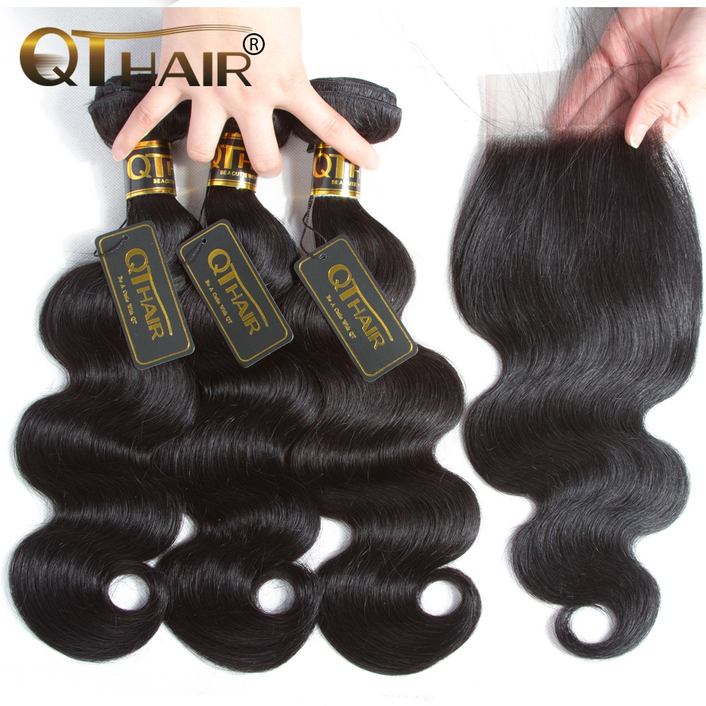 QT Hair Body Wave Bundles with Closure Brazilian Hair Weave Bundles with Closure Non Remy Human