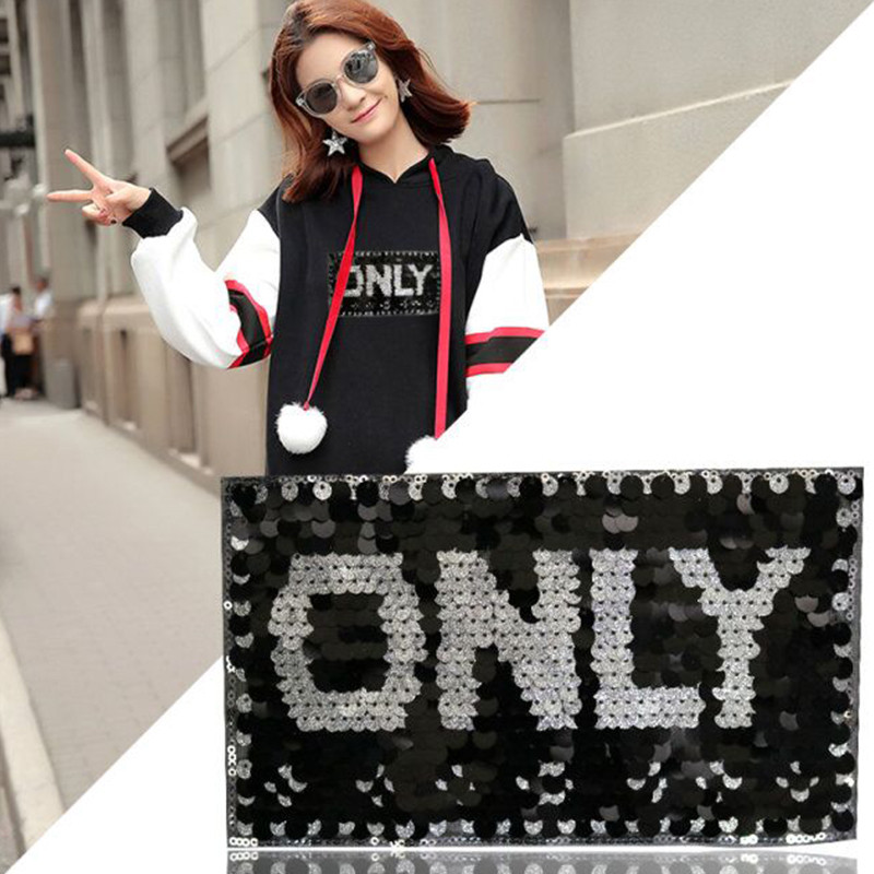 English word Pretty Sweet Only Sequined Patches Embroidered Iron On letters Patch For Clothing name Badge Paste T shirt Jean DIY in Patches from Home Garden