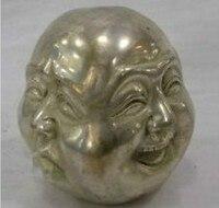 Metal Crafts tibetan silver 4 faces buddha head statue free shipping