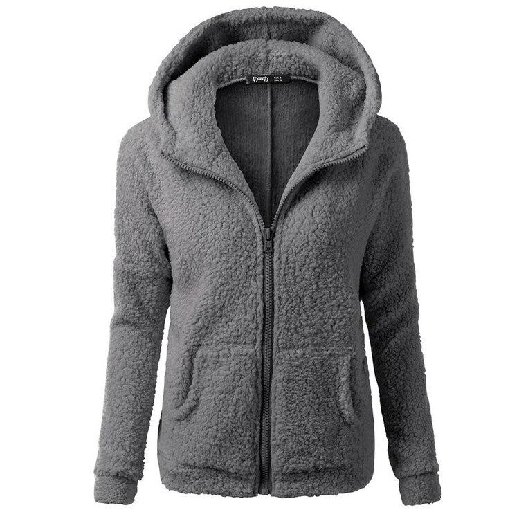 SAEEDNTON Autumn Winter Women Hoodies Fleece Hooded Long Sleeve Zipper Thicken Coat Outwear Sudaderas Jacket Sweatshirts Lady
