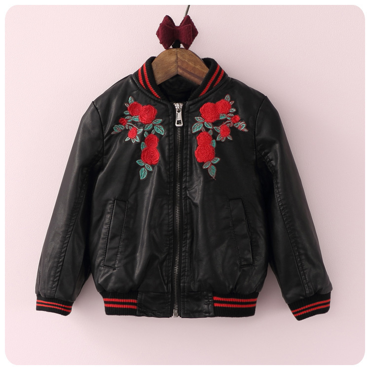 ФОТО Korean Children's New Product Girl Precious Embroidery Flower Loose Coat Hsome Imitate Leather Jacket Unlined Upper Garment