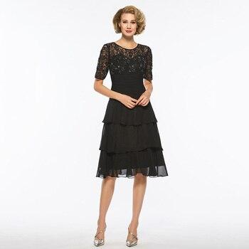 Dressv black scoop neck short sleeves a line mother of bride dress beaidng knee length long mother evening gown custom