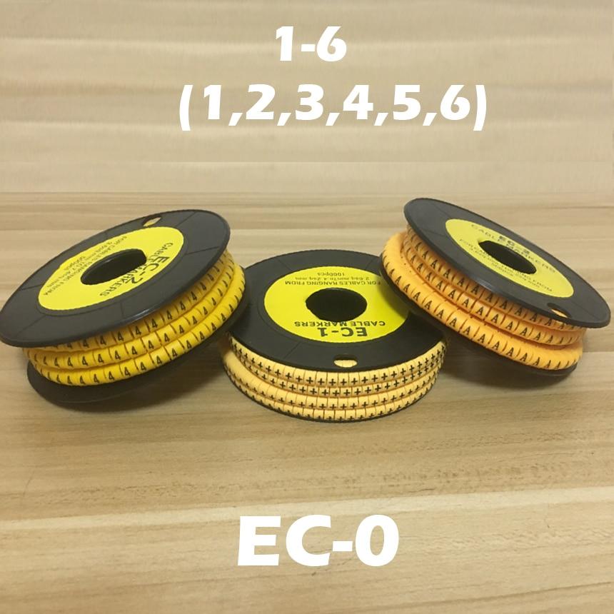 1200pcs EC-0 1.5mm2 Arabic Numeral 1-6 Letter Pattern PVC Flexible Print Sleeve Concave Tube Label Wire Cable Marker недорого