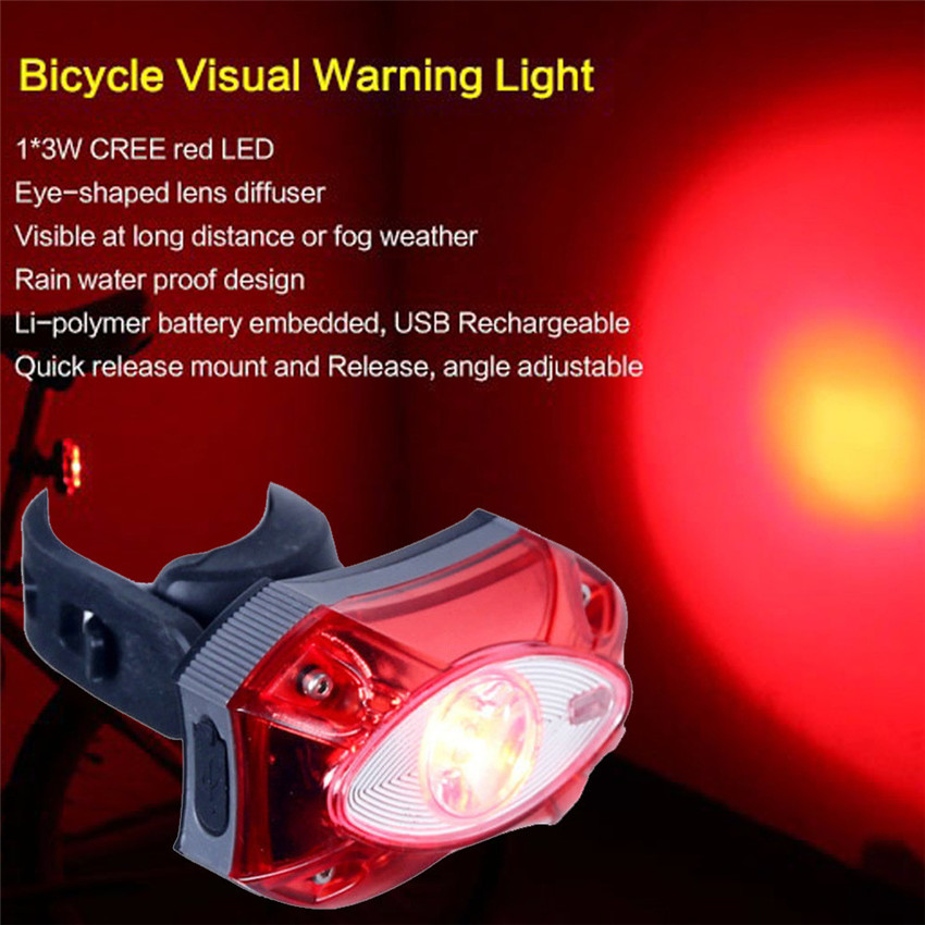 3W USB Rechargeable Rear Tail Bicycle Light Waterproof Taillight Bike Cycling  3 Modes LED Waterproof Safety Warning Lamp M25 waterproof 3 mode red led bicycle safety tail light w bike mount 2 x aaa