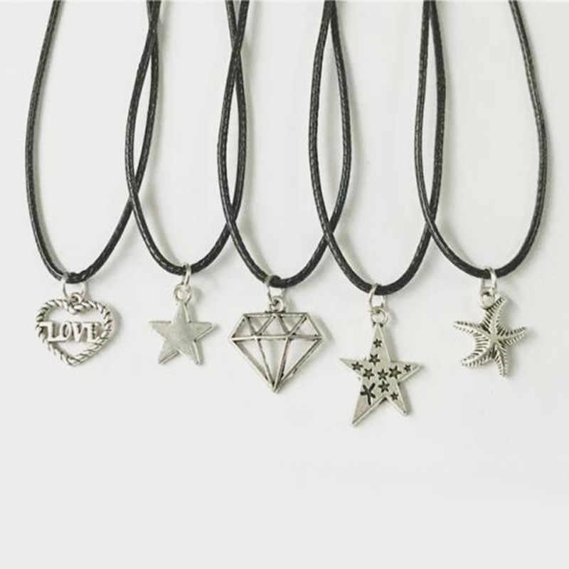 Moda quente instrução colares vintage banhado a prata pingente colar gótico preto gargantilha de couro colar para presente feminino