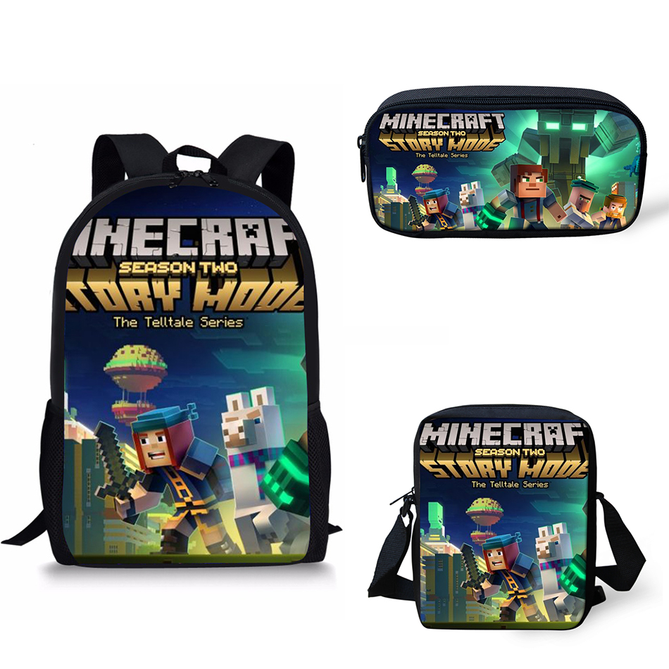 Customized Image School Backpack Shoulder Bag Pencil Set Minecraft Print Kids Boy Children Book