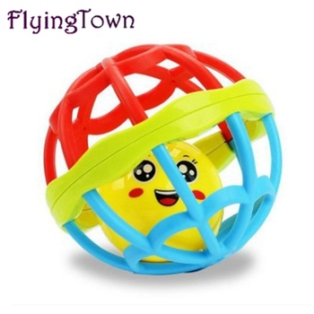 FlyingTown 2pcs Baby hand holding the bell ball baby teaching aids rosette fitness soft rubber ball colorful bell ball baby toys the bell