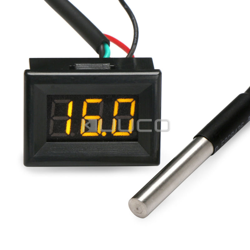 DC 12V 24V Digital Thermometer 0.36 Yellow Led -55 ~125 Celsius Degrees Temperature Monitor for Car/Water/Air/Indoor/Outdoor 55 125 celsius degrees red led digital car thermometer temperature meter ds18b20 sensor page 1