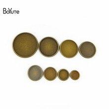 Boyute (100 peças/lote) redondo 8mm 10mm 12mm 14mm 16mm 18mm 20mm 25mm cabochão base bronze antigo diy bandeja em branco moldura configurações