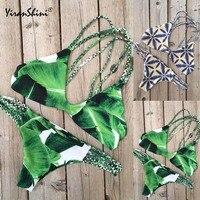 YIRANSHINI Biquinis Women Monokini Summer 2 Pieces Beach Bathing Suits Blue Green Sexy Backless Mini Bikini
