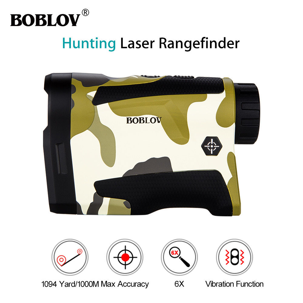 BOBLOV 6-1000M Hunting Laser Rangefinder 6x Telescope Distance For Golf Hunting Sports with 800mAh Rechargeable Lithium Battery
