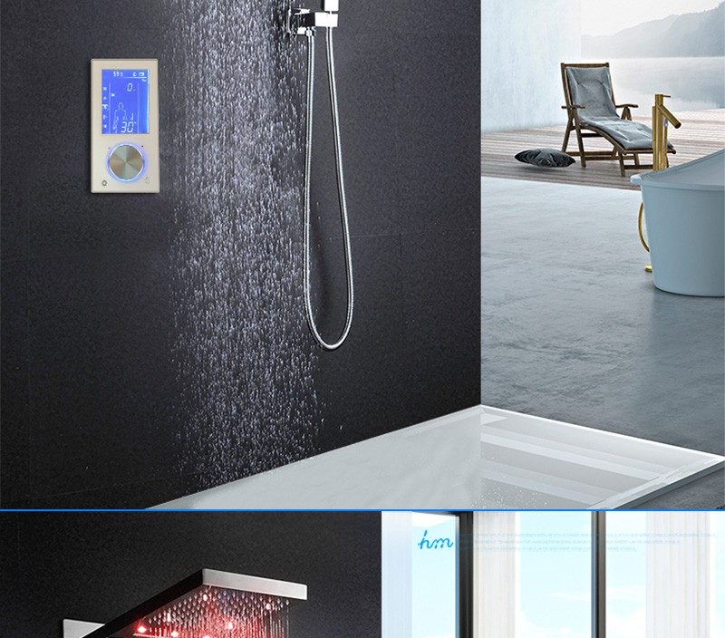 Digital Thermostat Waterfall Shower Controller Touch Control Panel Large SUS304 Rainfall Massage Bathroom Celling  (3)