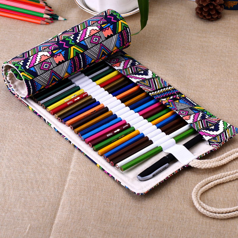 36/48/72 Holes Pencil Case School Canvas Roll Pouch Comestic Makeup Brush Case Pen Storage pecncil box  Estuches School penalty купить