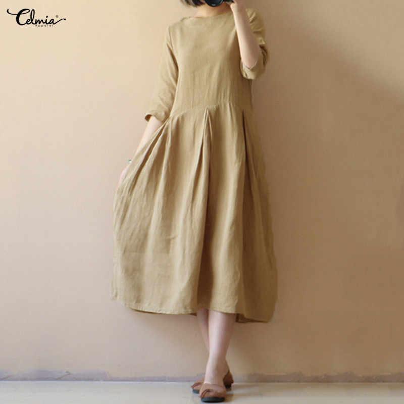 041d2c51abf Celmia Women Linen Summer Dress 2018 Female 1 2 Sleeve Solid Casual Midi  Dresses Plus