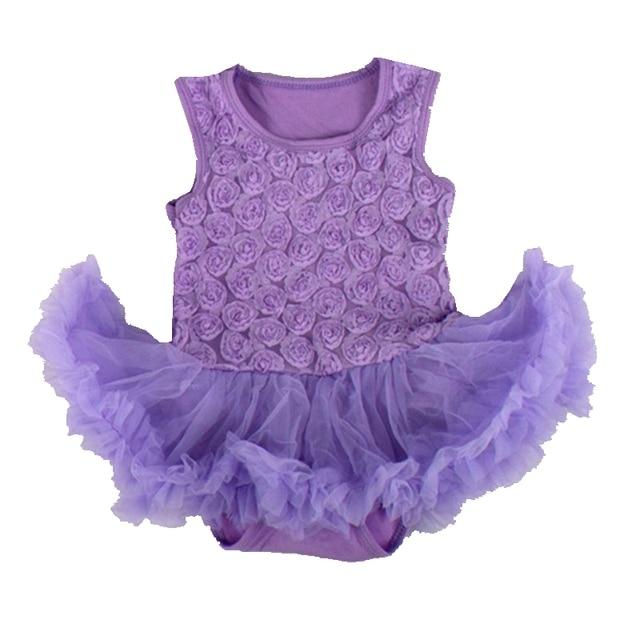 2b0937f4e6b8 3D Rose Flower Lace Rompers Lavender Infant Wedding Party Dresses Vestido  Bebe Newborn Baby Girl Dress