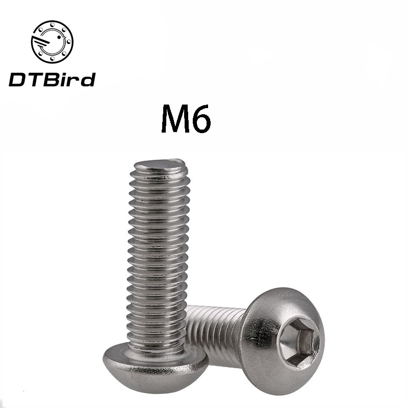 M6 Bolt A2-70 Button Head Socket Screw Bolt SUS304 Stainless Steel M6*(8/10/12/14/16/20/25/30/35/40/45/50/55/60~100) mm  DT2M6 Bolt A2-70 Button Head Socket Screw Bolt SUS304 Stainless Steel M6*(8/10/12/14/16/20/25/30/35/40/45/50/55/60~100) mm  DT2