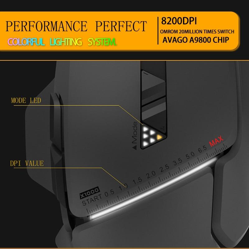 Nouveau 2017 007 souris de jeu filaire professionnelle 8 boutons 8200 DPI laser USB souris d'ordinateur filaire Gamer grande souris navire par DHL - 4