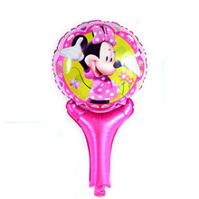 Lovely Minnie cartoon hand held Foil balloon Globos, Minie and mickey printed handheld balloon toys for kid gifts balloon(China)
