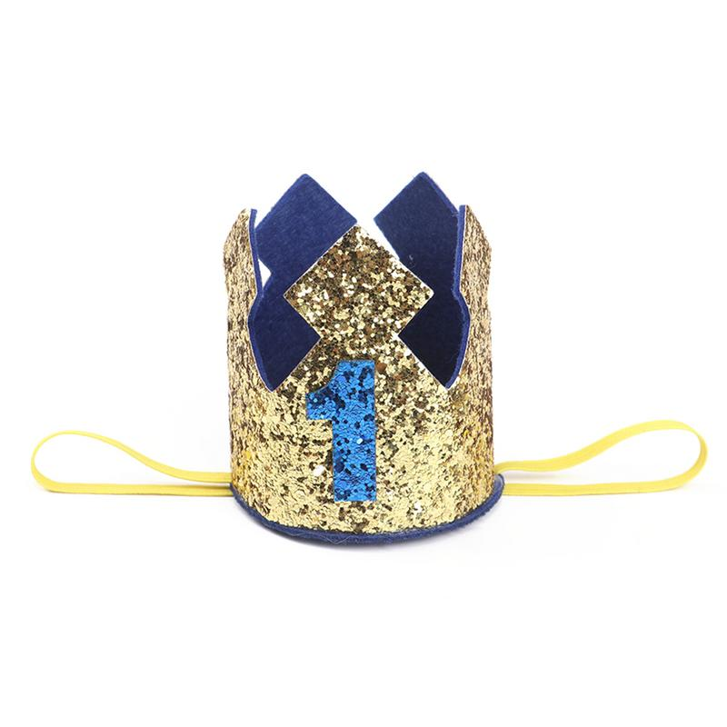 Boy First Birthday Hat Blue Gold Glitter Girl Pink Princess Crown 1st 2 3 Year Old Party Baby Shower Decor Headband Princes In Hats From Home