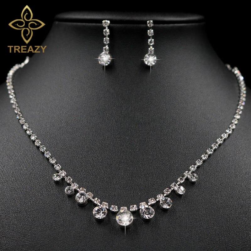 PüNktlich Treazy Einfachen Stil Frauen Kristall Tropfen Halskette Ohrringe Set Sparkly Silber Farbe Brautjungfer Hochzeit Sets Hochzeits- & Verlobungs-schmuck