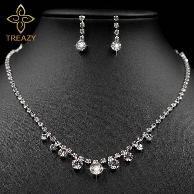 TREAZY Simple Style Women Crystal Drop Necklace Earrings Set Sparkly
