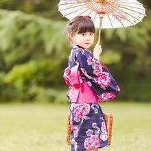 Новое японское традиционное хлопковое кимоно для косплея каваи японское кимоно юката для девочек кимоно с цветочным принтом платье с obi
