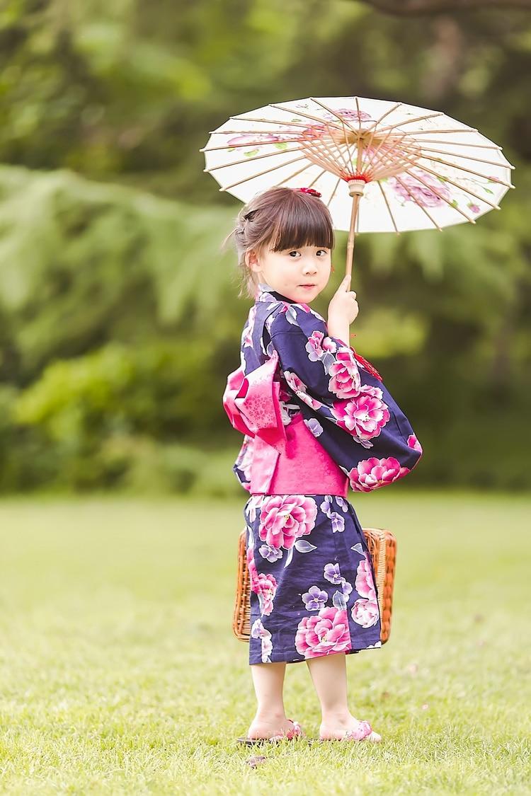 2019 new japanese traditional cotton Cosplay Kimono kawaii japan yukata kimono girl flowers kimono dress with obi